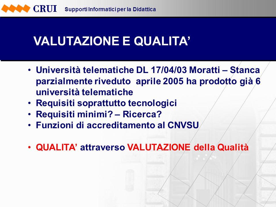 Supporti Informatici per la Didattica VALUTAZIONE E QUALITA Università telematiche DL 17/04/03 Moratti – Stanca parzialmente riveduto aprile 2005 ha p