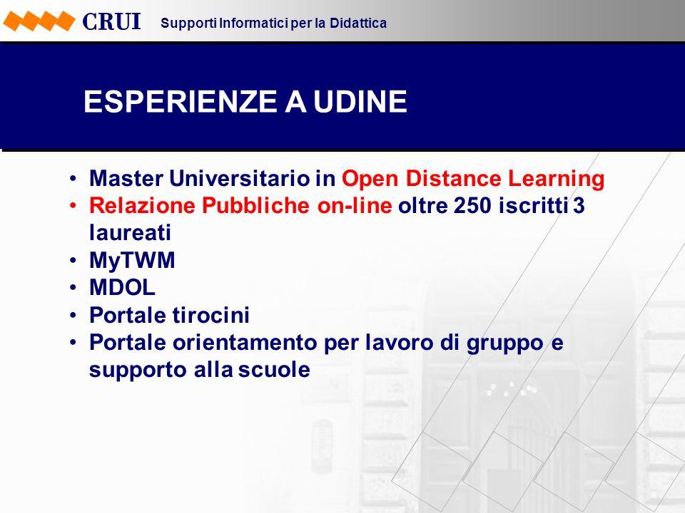 Supporti Informatici per la Didattica ESPERIENZE A UDINE Master Universitario in Open Distance Learning Relazione Pubbliche on-line oltre 250 iscritti
