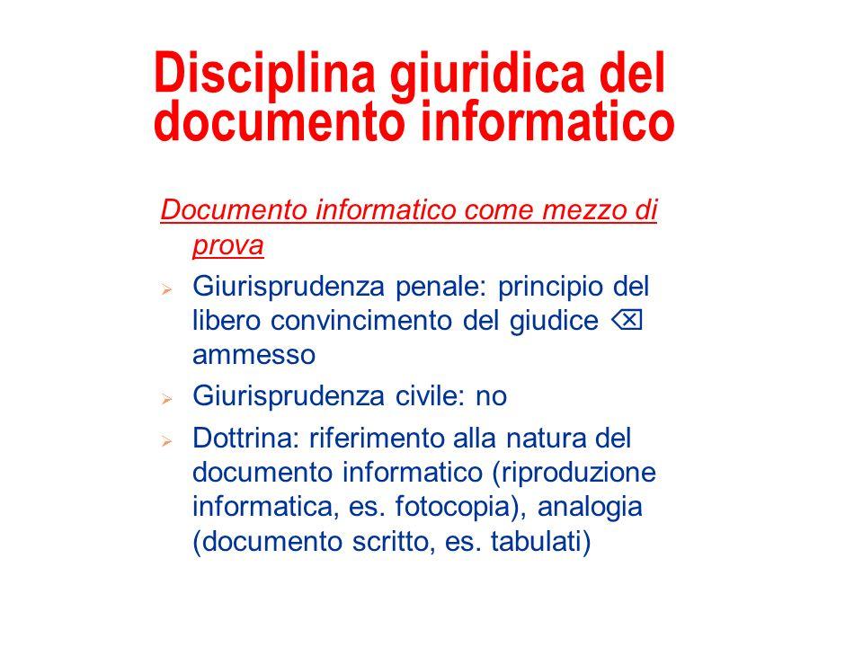 Disciplina giuridica del documento informatico Documento informatico come mezzo di prova Giurisprudenza penale: principio del libero convincimento del
