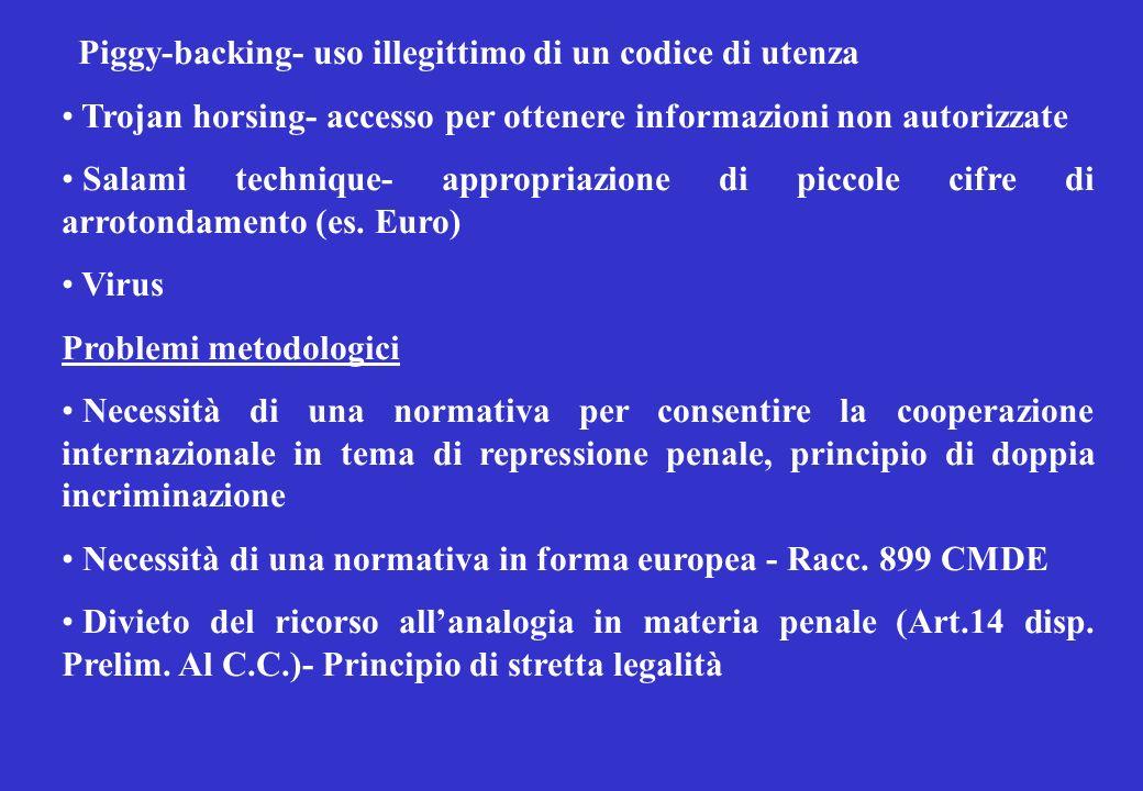 Piggy-backing- uso illegittimo di un codice di utenza Trojan horsing- accesso per ottenere informazioni non autorizzate Salami technique- appropriazione di piccole cifre di arrotondamento (es.