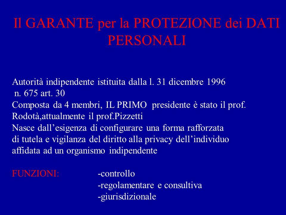 Il GARANTE per la PROTEZIONE dei DATI PERSONALI Autorità indipendente istituita dalla l. 31 dicembre 1996 n. 675 art. 30 Composta da 4 membri, IL PRIM