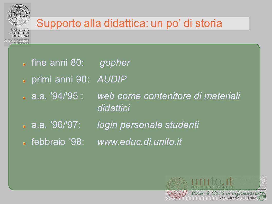 Supporto alla didattica: un po di storia fine anni 80: gopher primi anni 90: AUDIP a.a. '94/'95 : web come contenitore di materiali didattici a.a. '96