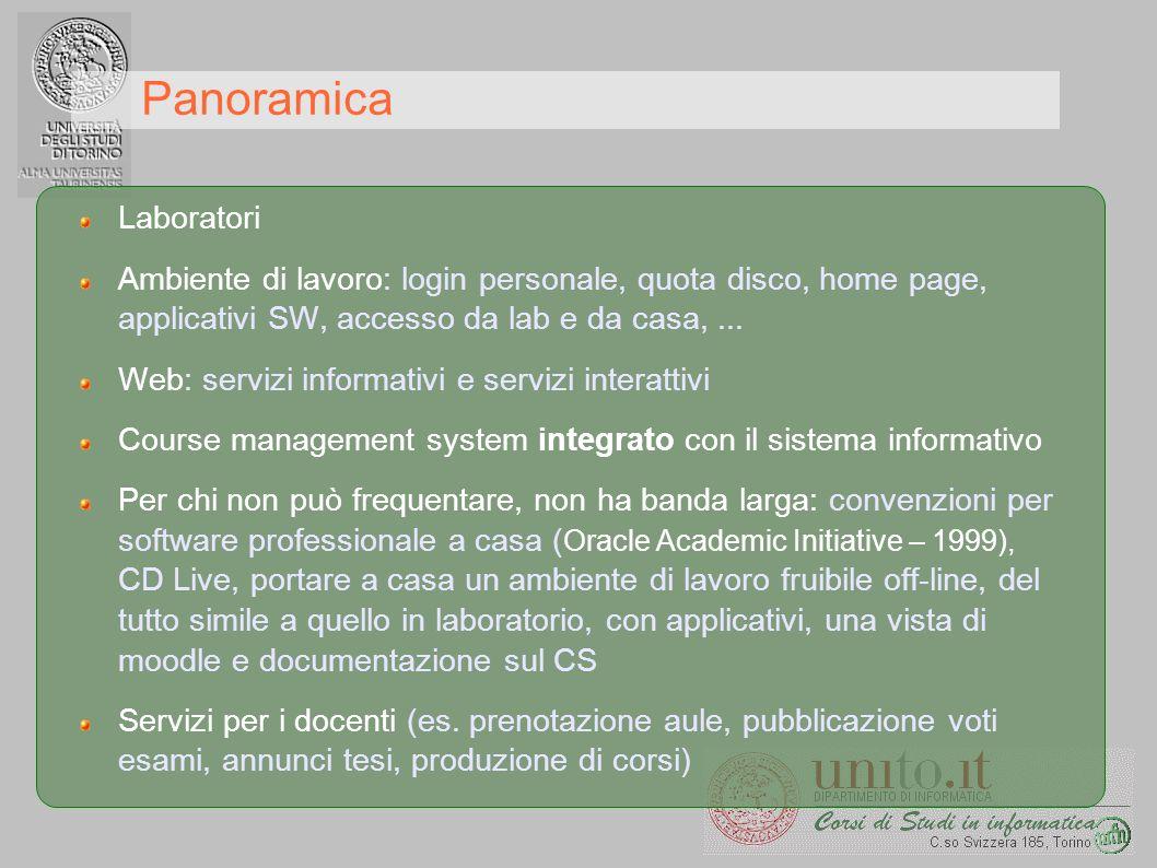 Panoramica Laboratori Ambiente di lavoro: login personale, quota disco, home page, applicativi SW, accesso da lab e da casa,... Web: servizi informati