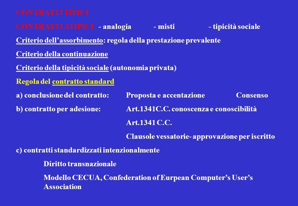 CONTRATTI TIPICI CONTRATTI ATIPICI- analogia - misti- tipicità sociale Criterio dellassorbimento: regola della prestazione prevalente Criterio della continuazione Criterio della tipicità sociale (autonomia privata) Regola del contratto standard a) conclusione del contratto: Proposta e accentazioneConsenso b) contratto per adesione:Art.1341C.C.