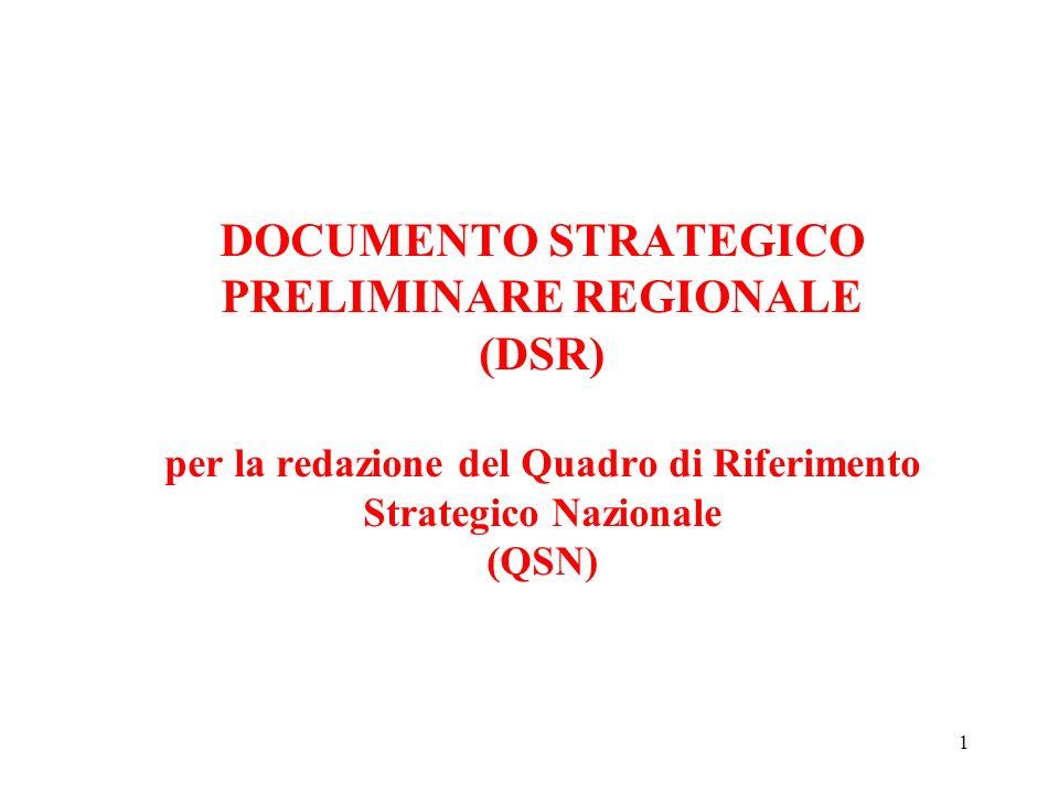 1 DOCUMENTO STRATEGICO PRELIMINARE REGIONALE (DSR) per la redazione del Quadro di Riferimento Strategico Nazionale (QSN)