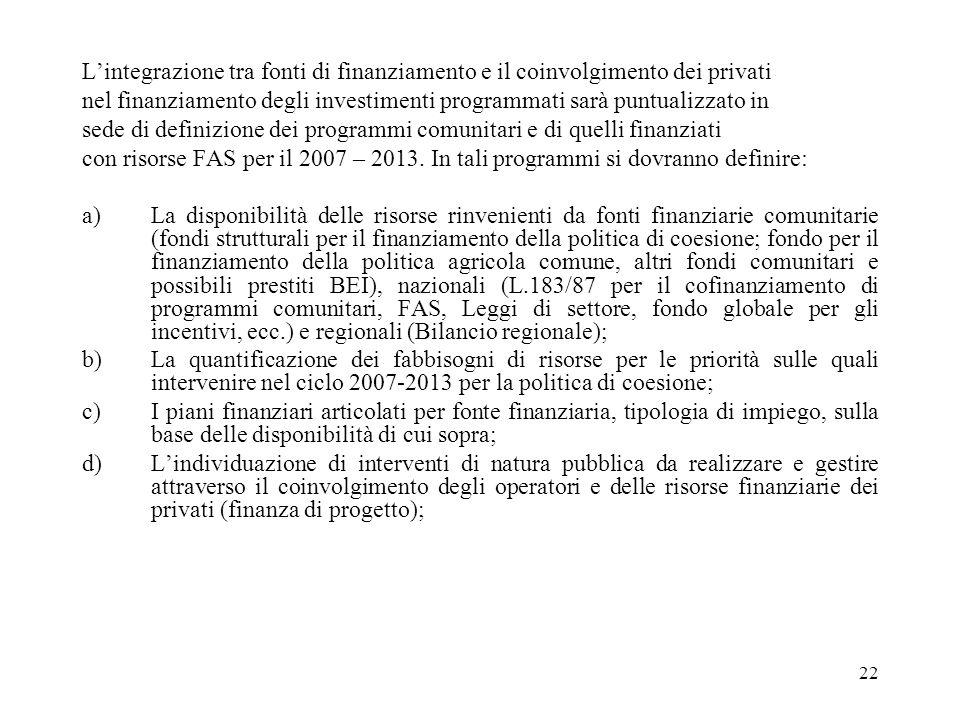 22 Lintegrazione tra fonti di finanziamento e il coinvolgimento dei privati nel finanziamento degli investimenti programmati sarà puntualizzato in sede di definizione dei programmi comunitari e di quelli finanziati con risorse FAS per il 2007 – 2013.