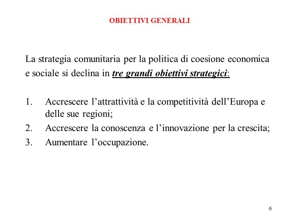 6 La strategia comunitaria per la politica di coesione economica e sociale si declina in tre grandi obiettivi strategici: 1.Accrescere lattrattività e la competitività dellEuropa e delle sue regioni; 2.Accrescere la conoscenza e linnovazione per la crescita; 3.Aumentare loccupazione.