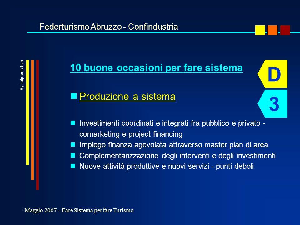 10 buone occasioni per fare sistema nProduzione a sistema nInvestimenti coordinati e integrati fra pubblico e privato - comarketing e project financing nImpiego finanza agevolata attraverso master plan di area nComplementarizzazione degli interventi e degli investimenti nNuove attività produttive e nuovi servizi - punti deboli Federturismo Abruzzo - Confindustria Maggio 2007 – Fare Sistema per fare Turismo D 3 By Italpromotion