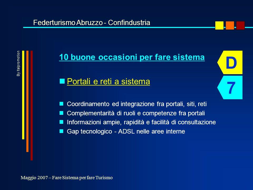 10 buone occasioni per fare sistema nPortali e reti a sistema nCoordinamento ed integrazione fra portali, siti, reti nComplementarità di ruoli e competenze fra portali nInformazioni ampie, rapidità e facilità di consultazione nGap tecnologico - ADSL nelle aree interne Federturismo Abruzzo - Confindustria Maggio 2007 – Fare Sistema per fare Turismo D 7 By Italpromotion