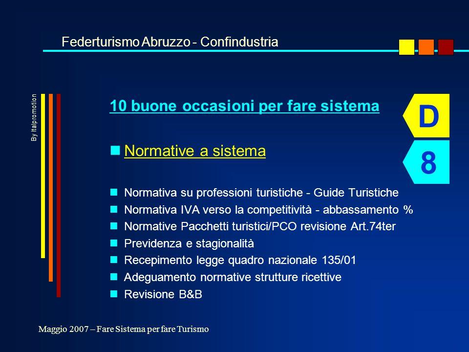 10 buone occasioni per fare sistema nNormative a sistema nNormativa su professioni turistiche - Guide Turistiche nNormativa IVA verso la competitività - abbassamento % nNormative Pacchetti turistici/PCO revisione Art.74ter nPrevidenza e stagionalità nRecepimento legge quadro nazionale 135/01 nAdeguamento normative strutture ricettive nRevisione B&B Federturismo Abruzzo - Confindustria Maggio 2007 – Fare Sistema per fare Turismo D 8 By Italpromotion