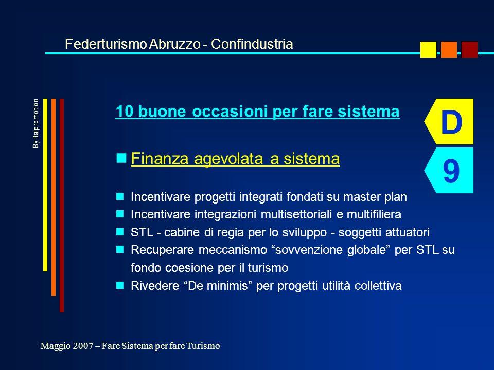 10 buone occasioni per fare sistema nFinanza agevolata a sistema nIncentivare progetti integrati fondati su master plan nIncentivare integrazioni multisettoriali e multifiliera nSTL - cabine di regia per lo sviluppo - soggetti attuatori nRecuperare meccanismo sovvenzione globale per STL su fondo coesione per il turismo nRivedere De minimis per progetti utilità collettiva Federturismo Abruzzo - Confindustria Maggio 2007 – Fare Sistema per fare Turismo D 9 By Italpromotion