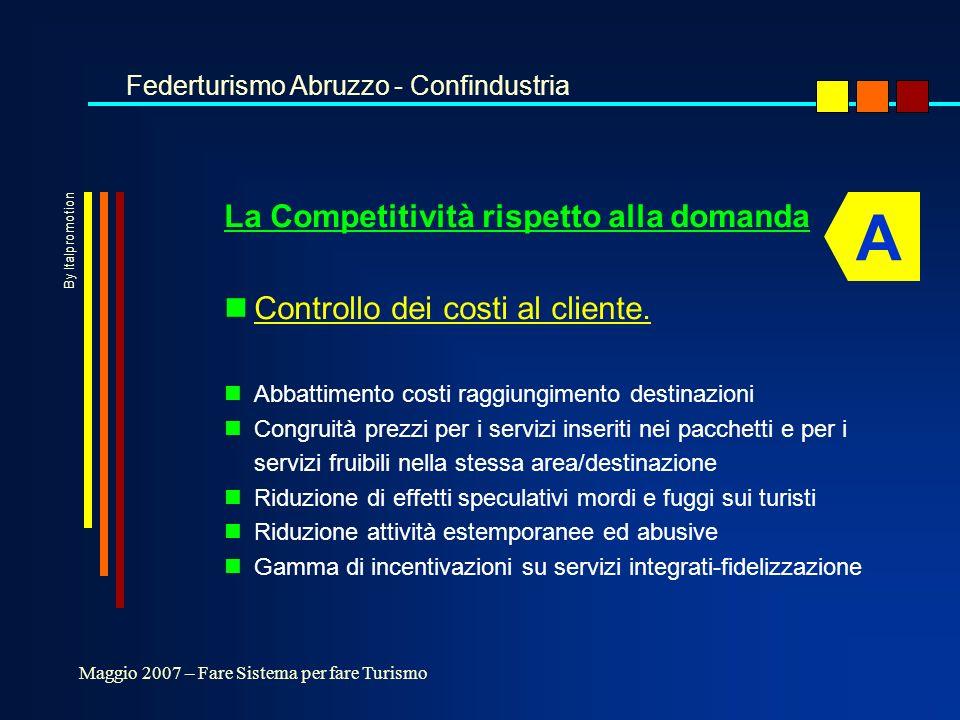 10 buone occasioni per fare sistema nSostenibilità a sistema nCertezze nelle strategie e negli strumenti di pianificazione nVerifica dello sviluppo sostenibile - bilancio sociale nRispetto ruoli -Parchi/Enti locali/Operatori economici nStrategie di conservazione - ambiente e competitività Federturismo Abruzzo - Confindustria Maggio 2007 – Fare Sistema per fare Turismo D 2 By Italpromotion
