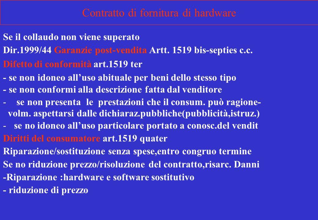 Contratto di fornitura di hardware Se il collaudo non viene superato Dir.1999/44 Garanzie post-vendita Artt. 1519 bis-septies c.c. Difetto di conformi
