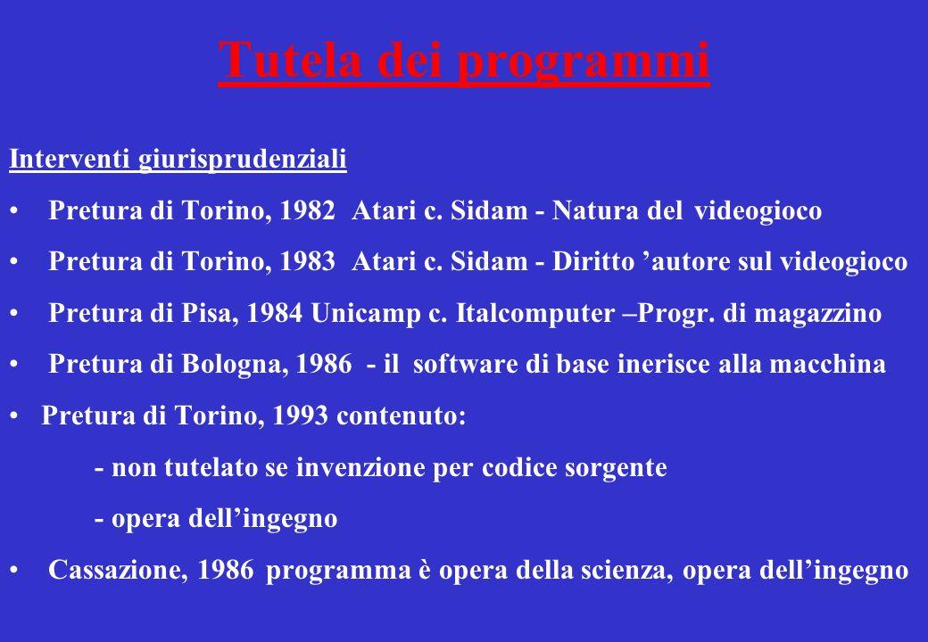 Tutela dei programmi Interventi giurisprudenziali Pretura di Torino, 1982Atari c.