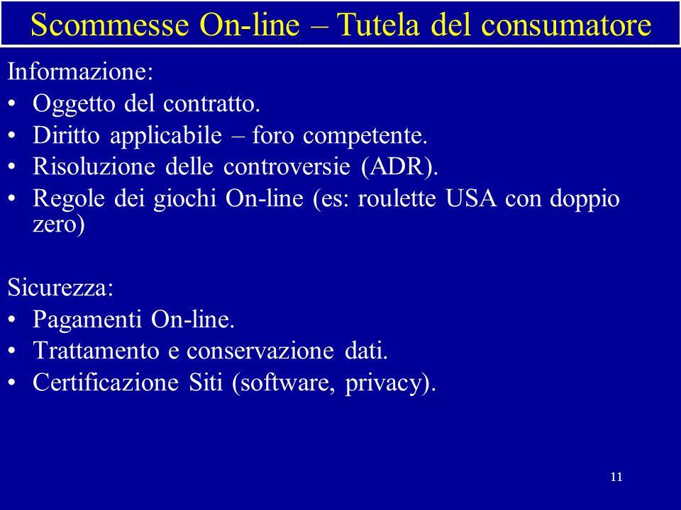 11 Informazione: Oggetto del contratto. Diritto applicabile – foro competente.