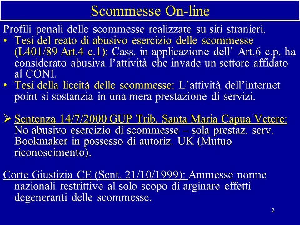 2 Scommesse On-line Profili penali delle scommesse realizzate su siti stranieri.