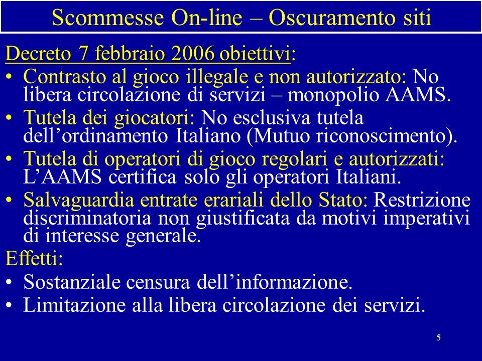 5 Scommesse On-line – Oscuramento siti Decreto 7 febbraio 2006 obiettivi: Contrasto al gioco illegale e non autorizzato: No libera circolazione di servizi – monopolio AAMS.