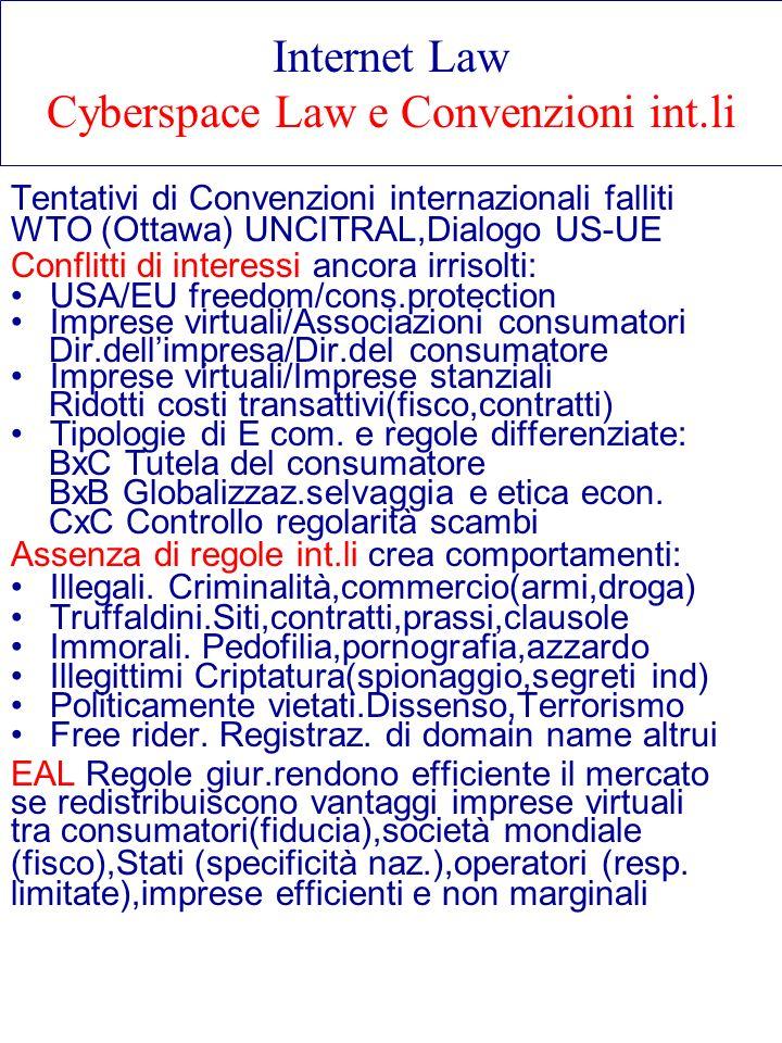 Internet Law Cyberspace Law e Convenzioni int.li Tentativi di Convenzioni internazionali falliti WTO (Ottawa) UNCITRAL,Dialogo US-UE Conflitti di inte