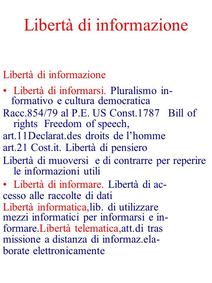 Libertà di informazione Libertà di informarsi. Pluralismo in- formativo e cultura democratica Racc.854/79 al P.E. US Const.1787 Bill of rights Freedom