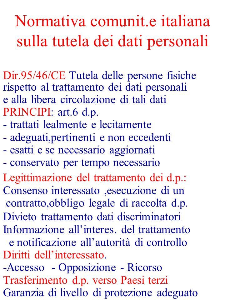 Normativa comunit.e italiana sulla tutela dei dati personali Dir.95/46/CE Tutela delle persone fisiche rispetto al trattamento dei dati personali e al