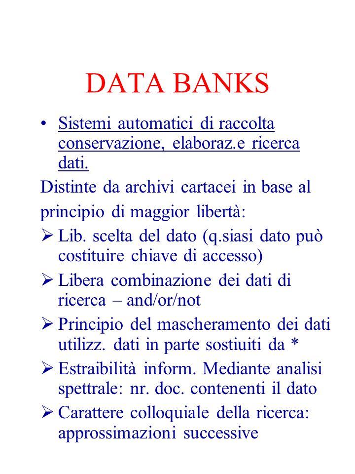 DATA BANKS Sistemi automatici di raccolta conservazione, elaboraz.e ricerca dati. Distinte da archivi cartacei in base al principio di maggior libertà