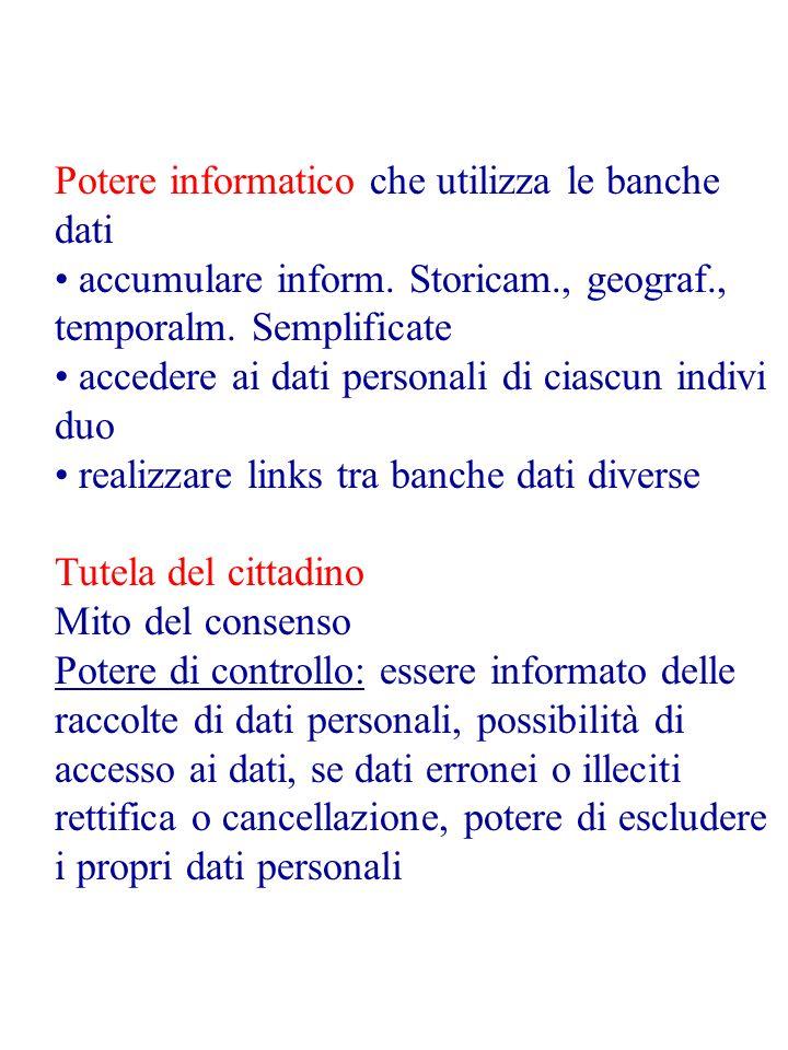 Potere informatico che utilizza le banche dati accumulare inform. Storicam., geograf., temporalm. Semplificate accedere ai dati personali di ciascun i