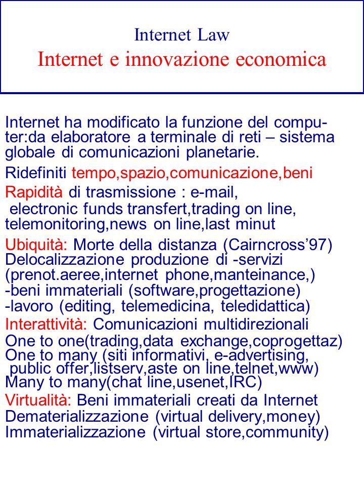Internet Law Internet e innovazione economica Internet ha modificato la funzione del compu- ter:da elaboratore a terminale di reti – sistema globale d