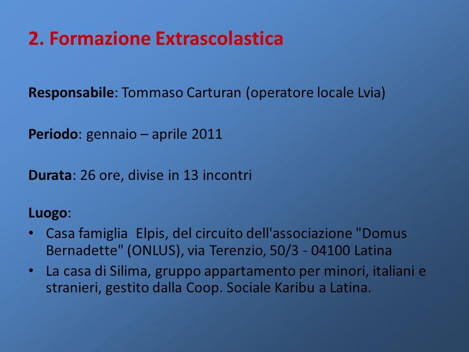 Responsabile: Tommaso Carturan (operatore locale Lvia) Periodo: gennaio – aprile 2011 Durata: 26 ore, divise in 13 incontri Luogo: Casa famiglia Elpis