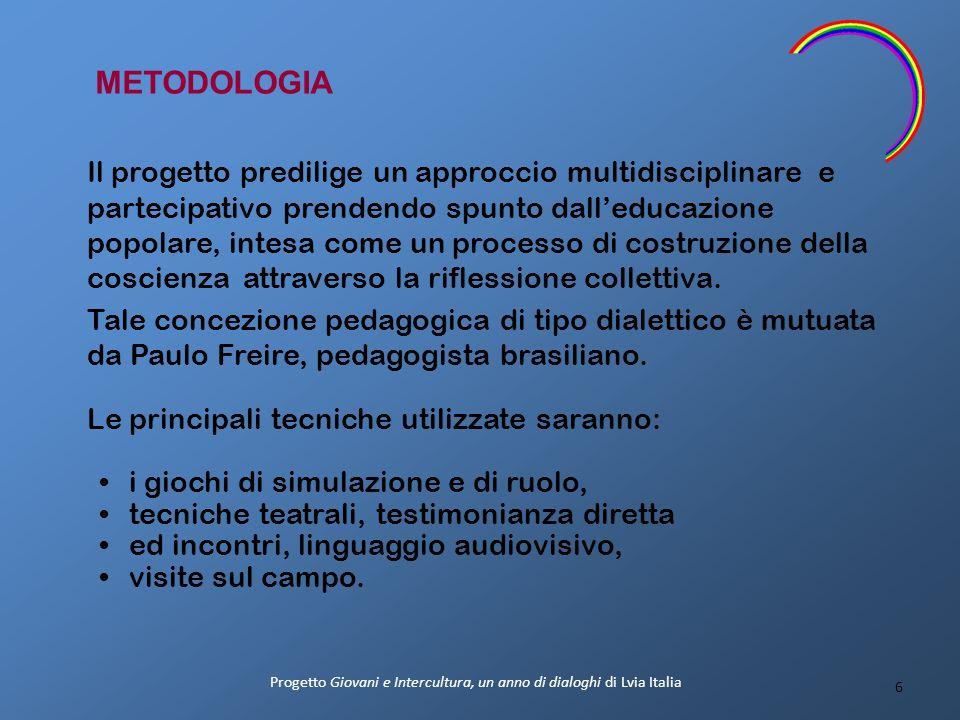 METODOLOGIA Il progetto predilige un approccio multidisciplinare e partecipativo prendendo spunto dalleducazione popolare, intesa come un processo di