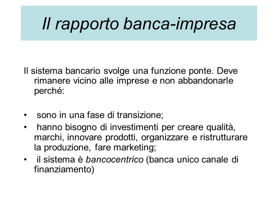 Il sistema bancario svolge una funzione ponte. Deve rimanere vicino alle imprese e non abbandonarle perché: sono in una fase di transizione; hanno bis