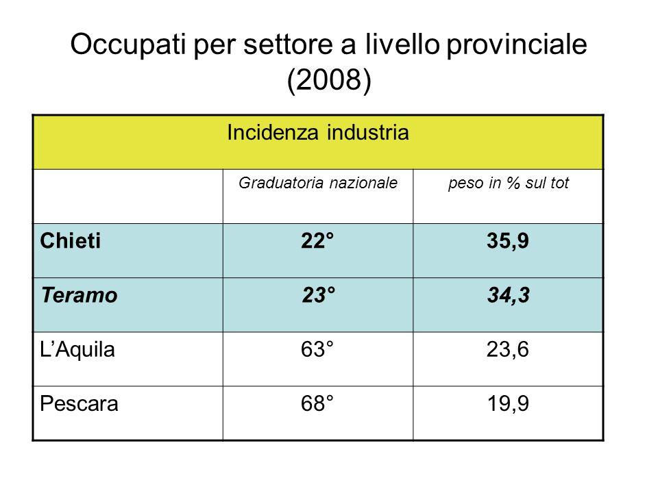 Export (I° trimestre 2009 – dati in %) Ambiti territorialisettori Abruzzo-34,5T&A-20,6 Chieti (70% del totale) -42,1Mezzi trasporto (40% del totale) -52,2 LAquila-12,3Prodotti in metallo-29,2 Pescara-7,5Prodotti chimici-40,6 Teramo-24,7Macch.