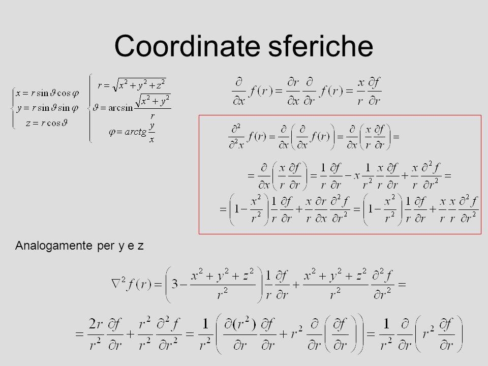 Coordinate sferiche Analogamente per y e z