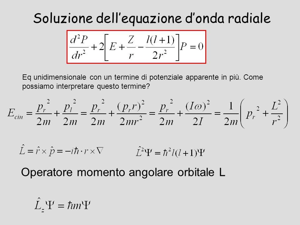 Soluzione dellequazione donda radiale Eq unidimensionale con un termine di potenziale apparente in più. Come possiamo interpretare questo termine? Ope