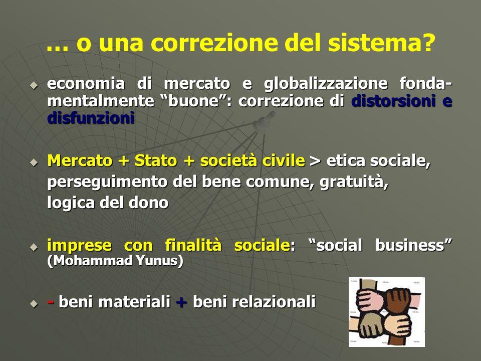 … o una correzione del sistema? economia di mercato e globalizzazione fonda- mentalmente buone: correzione di distorsioni e disfunzioni economia di me