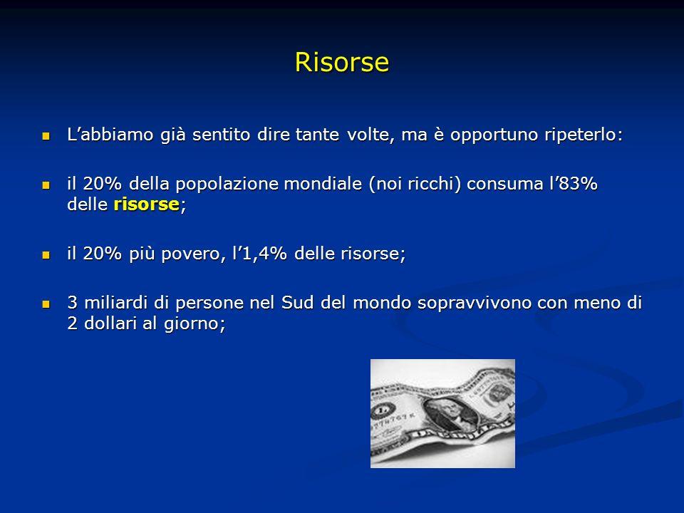 Risorse Labbiamo già sentito dire tante volte, ma è opportuno ripeterlo: Labbiamo già sentito dire tante volte, ma è opportuno ripeterlo: il 20% della popolazione mondiale (noi ricchi) consuma l83% delle risorse; il 20% della popolazione mondiale (noi ricchi) consuma l83% delle risorse; il 20% più povero, l1,4% delle risorse; il 20% più povero, l1,4% delle risorse; 3 miliardi di persone nel Sud del mondo sopravvivono con meno di 2 dollari al giorno; 3 miliardi di persone nel Sud del mondo sopravvivono con meno di 2 dollari al giorno;