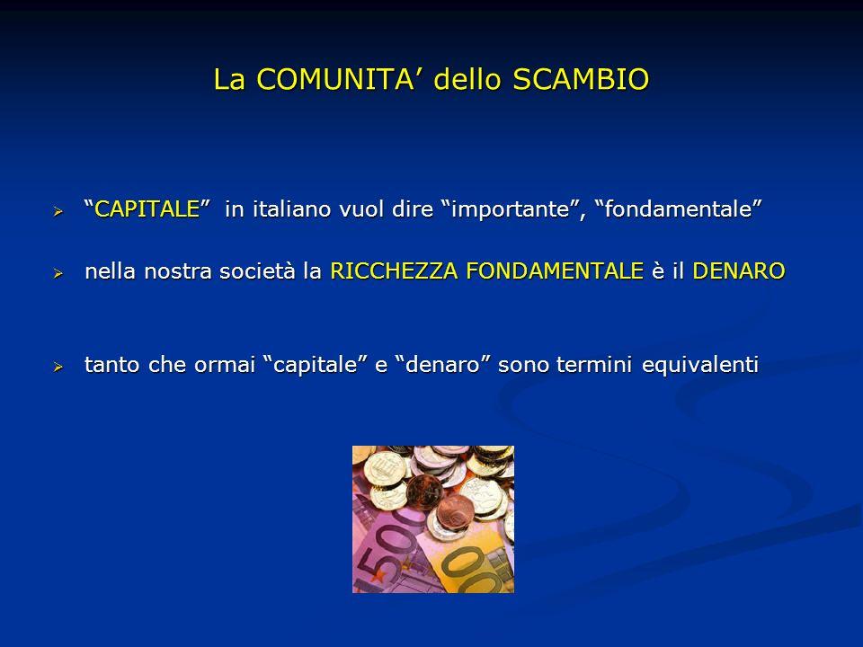 La COMUNITA dello SCAMBIO CAPITALE in italiano vuol dire importante, fondamentaleCAPITALE in italiano vuol dire importante, fondamentale nella nostra società la RICCHEZZA FONDAMENTALE è il DENARO nella nostra società la RICCHEZZA FONDAMENTALE è il DENARO tanto che ormai capitale e denaro sono termini equivalenti tanto che ormai capitale e denaro sono termini equivalenti