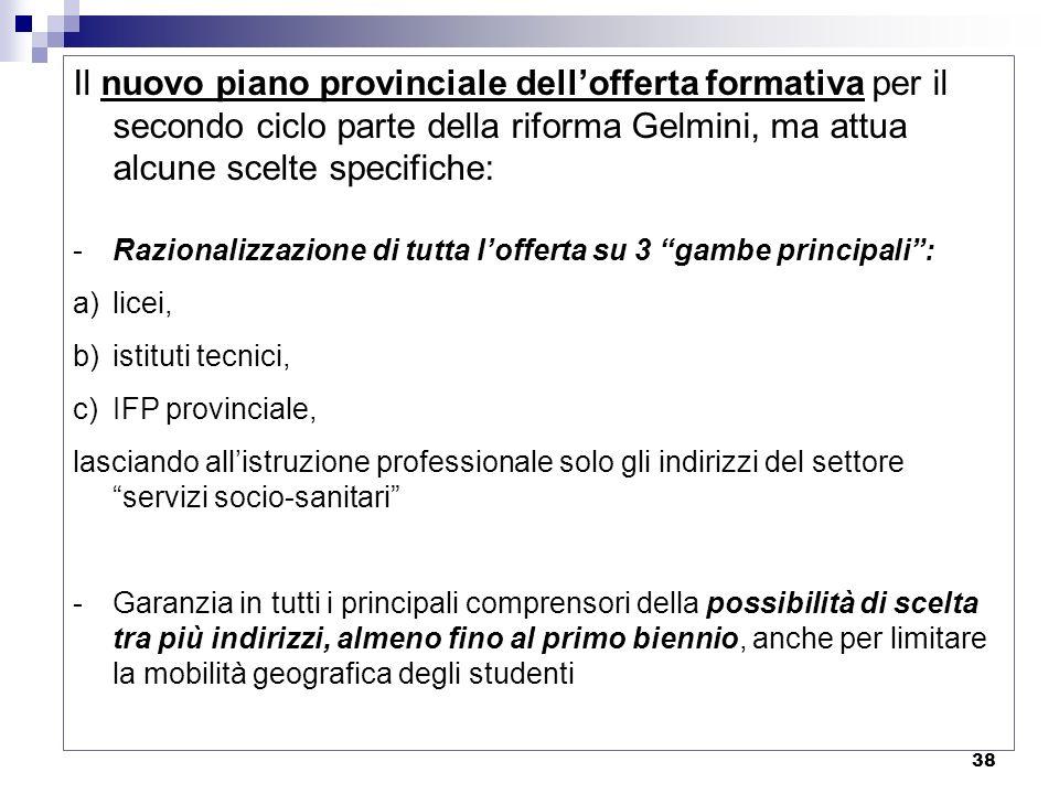 38 Il nuovo piano provinciale dellofferta formativa per il secondo ciclo parte della riforma Gelmini, ma attua alcune scelte specifiche: -Razionalizza