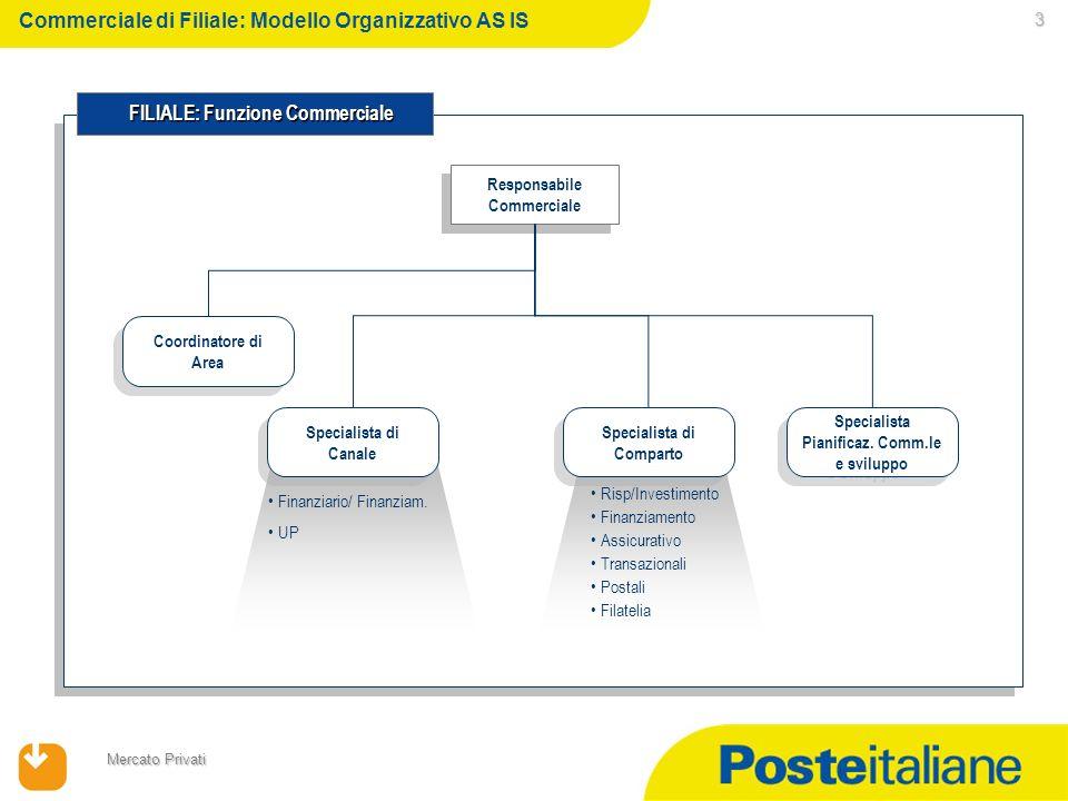 23/02/2014 Mercato Privati 3 Responsabile Commerciale Responsabile Commerciale FILIALE: Funzione Commerciale FILIALE: Funzione Commerciale Coordinatore di Area Specialista di Canale Specialista di Comparto Specialista Pianificaz.