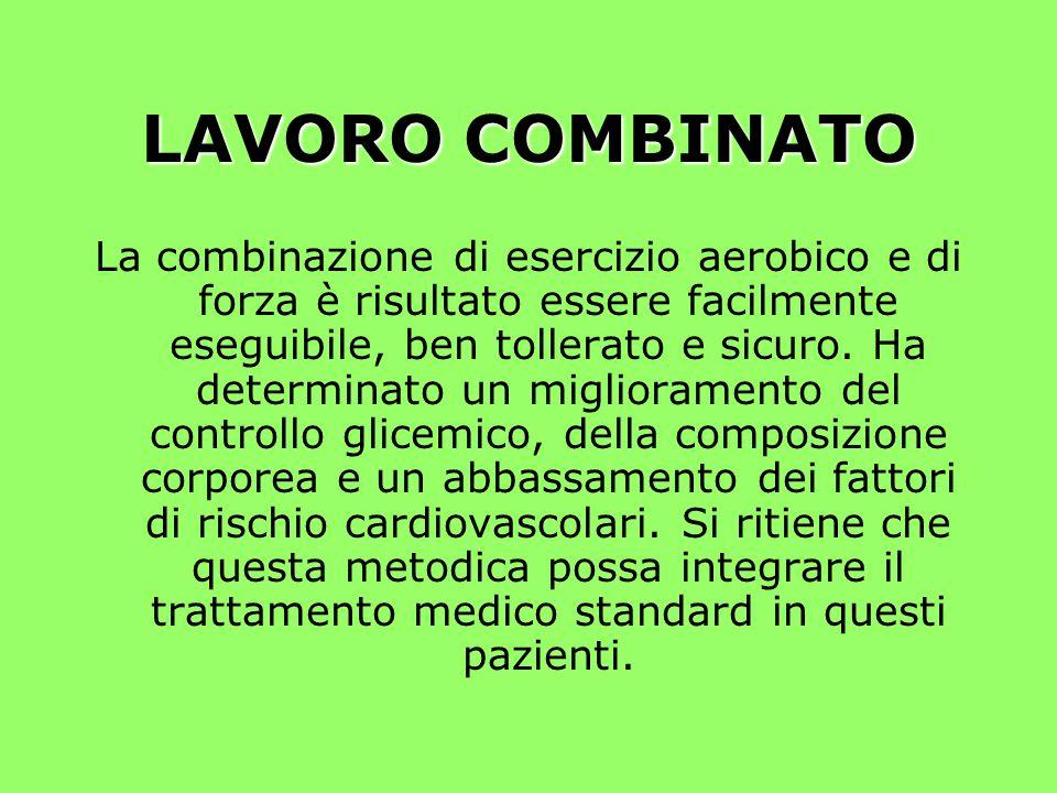 LAVORO COMBINATO La combinazione di esercizio aerobico e di forza è risultato essere facilmente eseguibile, ben tollerato e sicuro. Ha determinato un