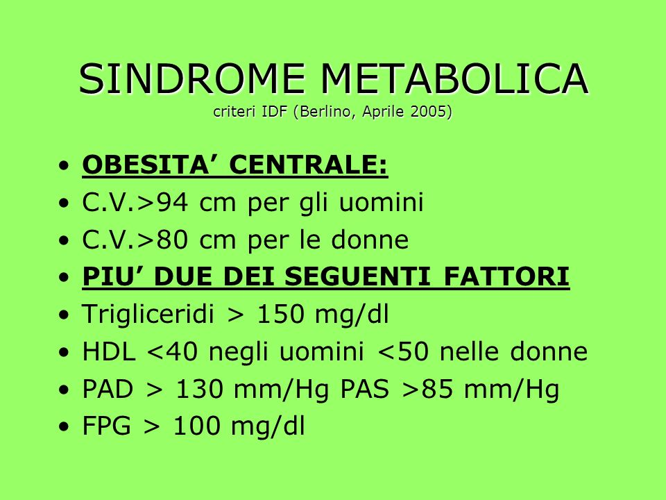 SINDROME METABOLICA criteri IDF (Berlino, Aprile 2005) OBESITA CENTRALE: C.V.>94 cm per gli uomini C.V.>80 cm per le donne PIU DUE DEI SEGUENTI FATTORI Trigliceridi > 150 mg/dl HDL <40 negli uomini <50 nelle donne PAD > 130 mm/Hg PAS >85 mm/Hg FPG > 100 mg/dl