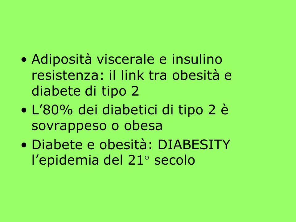 Adiposità viscerale e insulino resistenza: il link tra obesità e diabete di tipo 2 L80% dei diabetici di tipo 2 è sovrappeso o obesa Diabete e obesità: DIABESITY lepidemia del 21° secolo