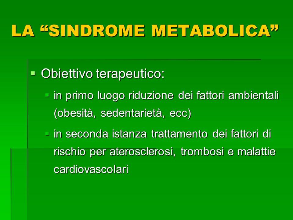 Obiettivo terapeutico: Obiettivo terapeutico: in primo luogo riduzione dei fattori ambientali (obesità, sedentarietà, ecc) in primo luogo riduzione de