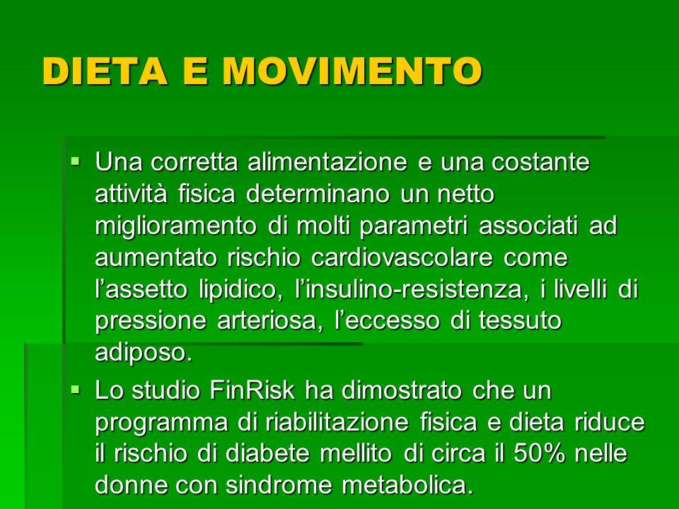 DIETA E MOVIMENTO Una corretta alimentazione e una costante attività fisica determinano un netto miglioramento di molti parametri associati ad aumenta