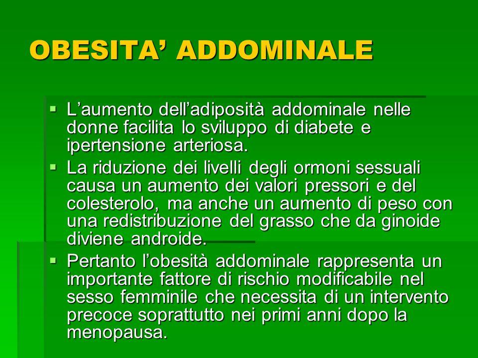 OBESITA ADDOMINALE Laumento delladiposità addominale nelle donne facilita lo sviluppo di diabete e ipertensione arteriosa. Laumento delladiposità addo