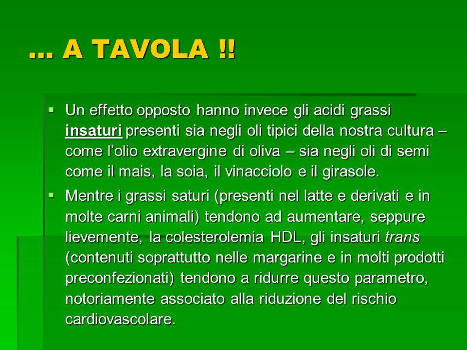 Un effetto opposto hanno invece gli acidi grassi insaturi presenti sia negli oli tipici della nostra cultura – come lolio extravergine di oliva – sia