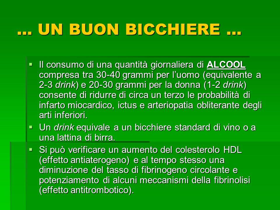 … UN BUON BICCHIERE … Il consumo di una quantità giornaliera di ALCOOL compresa tra 30-40 grammi per luomo (equivalente a 2-3 drink) e 20-30 grammi pe