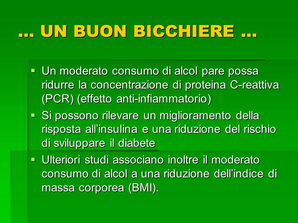 Un moderato consumo di alcol pare possa ridurre la concentrazione di proteina C-reattiva (PCR) (effetto anti-infiammatorio) Un moderato consumo di alc