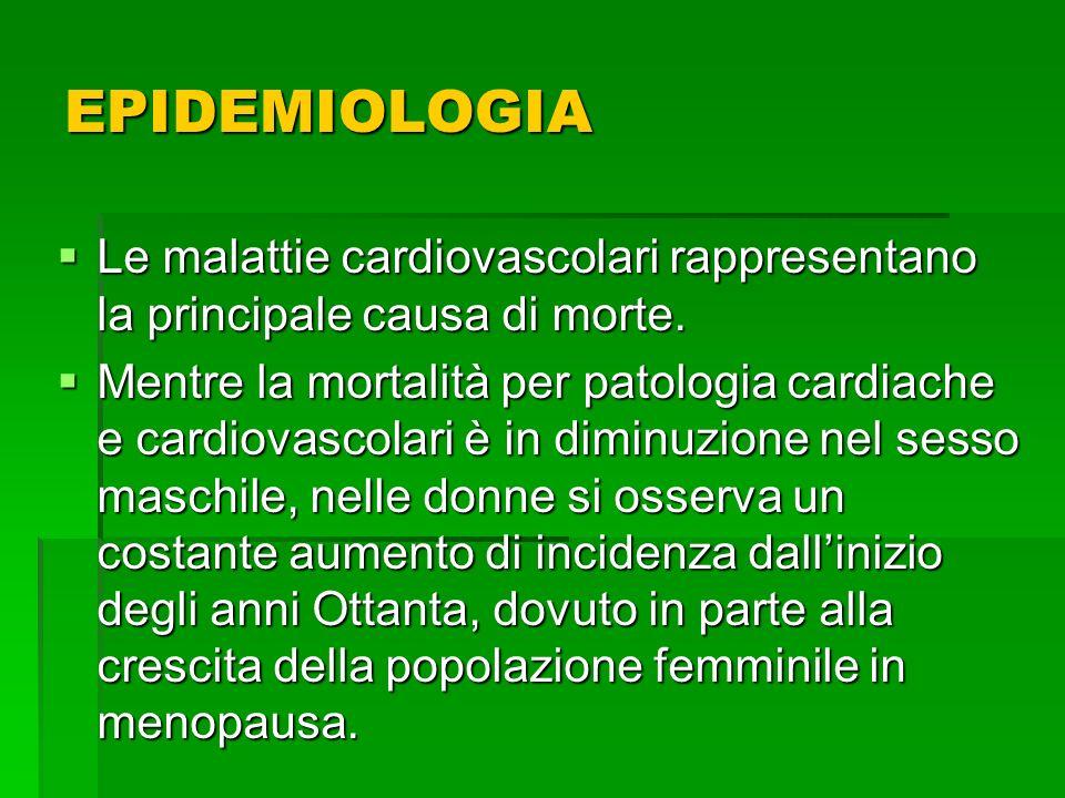 Negli uomini elevati valori di colesterolo totale e C-LDL rappresentano il principale fattore di rischio, nelle donne il diabete mellito e gli aumentati valori pressori hanno unimportanza maggiore nel determinare eventi cardiovascolari.