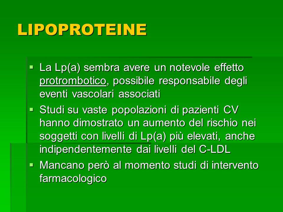 La Lp(a) sembra avere un notevole effetto protrombotico, possibile responsabile degli eventi vascolari associati La Lp(a) sembra avere un notevole eff