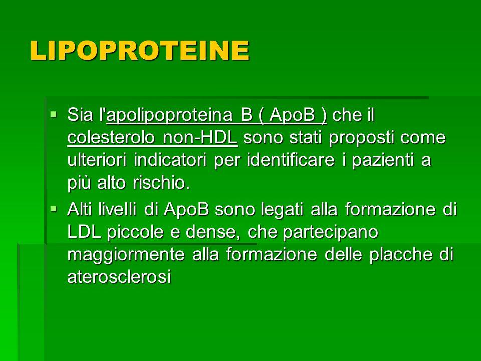 Sia l'apolipoproteina B ( ApoB ) che il colesterolo non-HDL sono stati proposti come ulteriori indicatori per identificare i pazienti a più alto risch